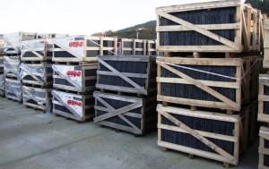 Slates in crates